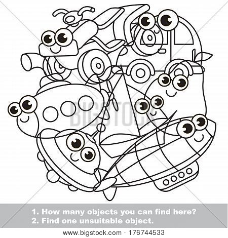 Cute toy machines mishmash set in vector outlined to be colored. Find all hidden objects on the picture. Easy educational kid game. Simple level of difficulty. Visual game for children.