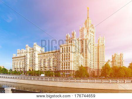Kotelnicheskaya Embankment Building near Yauza river in Moscow Russia