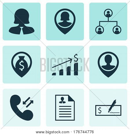 Set Of 9 Hr Icons. Includes Employee Location, Curriculum Vitae, Successful Investment And Other Symbols. Beautiful Design Elements.