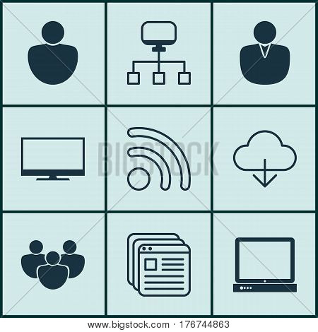 Set Of 9 World Wide Web Icons. Includes Local Connection, PC, Wifi And Other Symbols. Beautiful Design Elements.