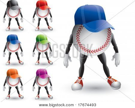 cartoon baseballs with hats