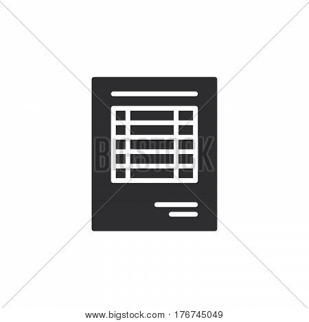 Sheet document icon vector filled flat sign solid pictogram isolated on white. Invoice symbol logo illustration
