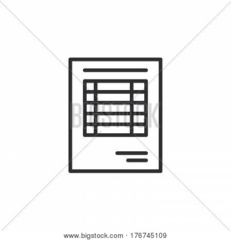 Sheet document line icon outline vector sign linear pictogram isolated on white. Invoice symbol logo illustration