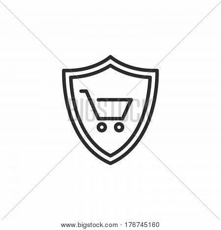Shield with shopping cart line icon outline vector sign linear pictogram isolated on white. Buyer Protection symbol logo illustration