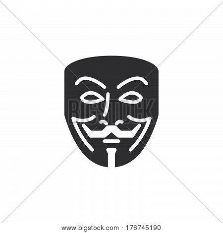Anonymous mask icon vector filled flat sign solid pictogram isolated on white. Hacker symbol logo illustration