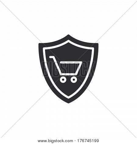 Shield with shopping cart icon vector filled flat sign solid pictogram isolated on white. Buyer Protection symbol logo illustration