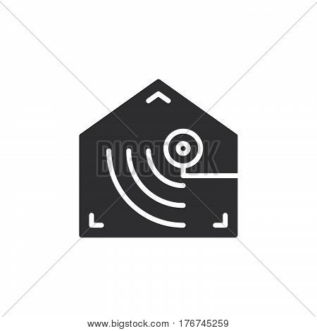 Motion detector icon vector filled flat sign solid pictogram isolated on white. Indoor camera symbol logo illustration