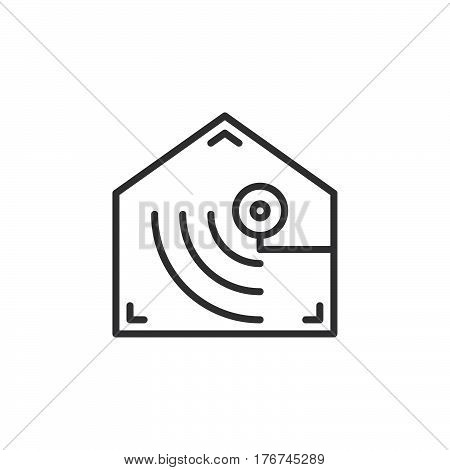 Motion detector line icon outline vector sign linear pictogram isolated on white. Indoor camera symbol logo illustration