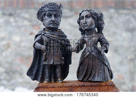 Mukacheve, Ukraine - January 31, 2017: Mini-statue of Countess Ilona Zrini and Count Imre Tekeli in castle Palanok