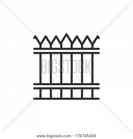 Fence wood wall line icon outline vector sign linear pictogram isolated on white. Symbol logo illustration