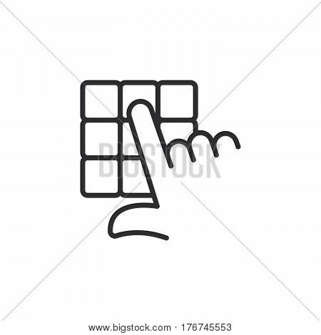 Hand and pin pad line icon outline vector sign linear pictogram isolated on white. Enter pin code symbol logo illustration
