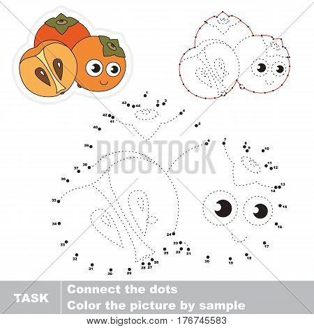 Funny persimmons in vector to be traced by numbers. Easy educational kid game. Simple game level. Education and gaming for kids. Vector visual game for children.