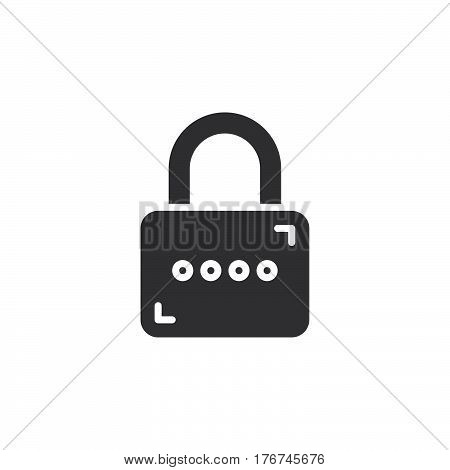 Padlock Lock icon vector filled flat sign solid pictogram isolated on white. Password symbol logo illustration