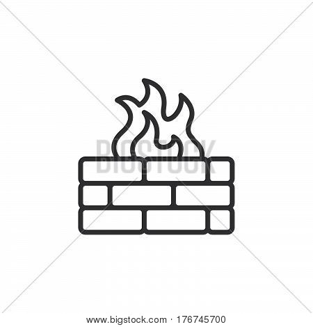 Brick wall and fire line icon outline vector sign linear pictogram isolated on white. Firewall symbol logo illustration