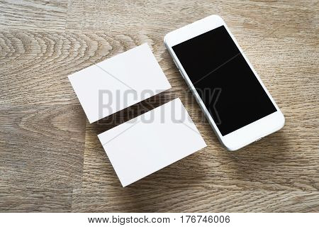 Businesscard and smartphone - identity design mockup