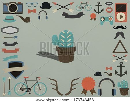 Variety of hipster hobbies activity icons