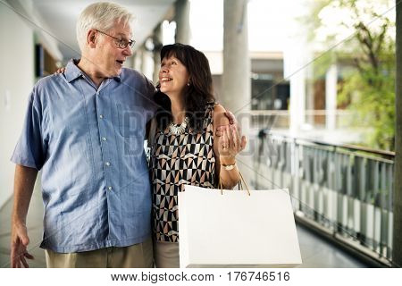 Mature people going shopping together