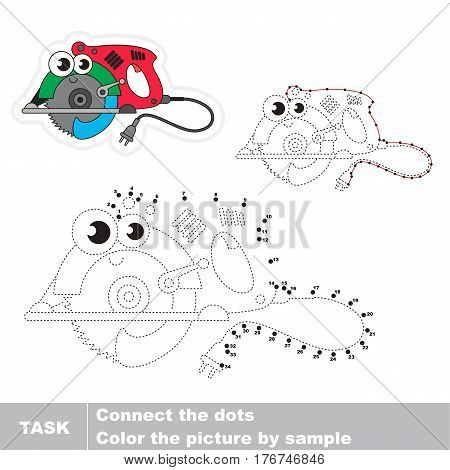 Wired circular saw in vector to be traced by numbers, easy educational kid game.