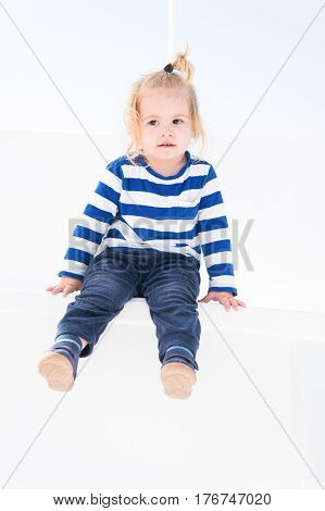 Small Baby Boy With Adorable Face Isolated On White Background