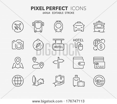 Set of travel tourism transportation thin line icons. Contains icons as travel by airplane booking online payment methods ecotourism travel insurance and more. Editable vector stroke. 64x64 Pixel Perfect.