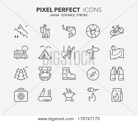 Set of outdoor and camping activities thin line icons. Contains icons as mountain bike trail map barbecue grill hunting and fishing equipment and more. Editable vector stroke. 64x64 Pixel Perfect.