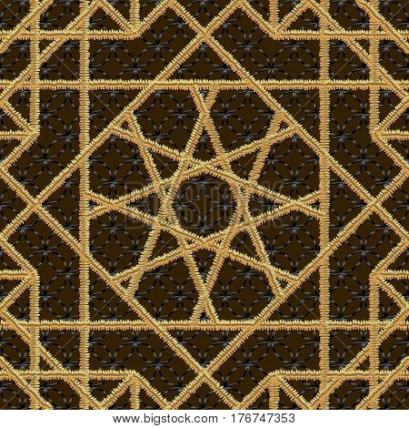 Vector Arabic seamless pattern embroidery with gold thread style. Traditional arab geometric decorative background illustrations
