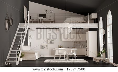 Scandinavian Minimalist Loft, One-room Apartment With White Kitchen, Living And Bedroom, Classic Int