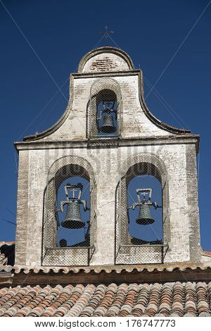 Avila (Castilla y Leon Spain): typical roof of old church with three bells