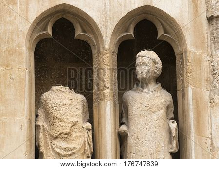 Valencia (Spain) exterior of the medieval cathedral in gothic style: statues