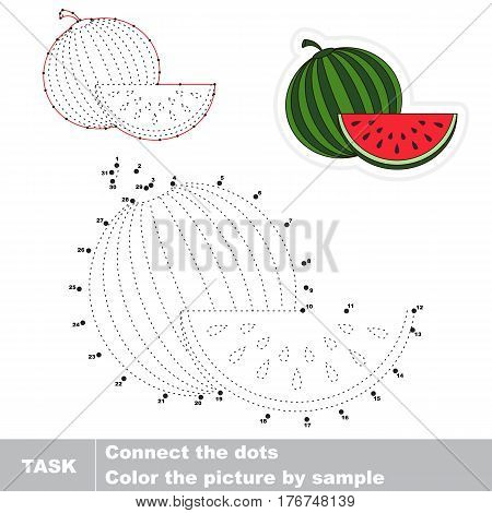 Join dots by numbers, the educational vector game for kids with easy game level. Simple kid tracing worksheet with Watermelon