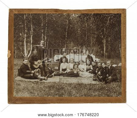 Vintage Photo Of A Group Of People At The Picnic.