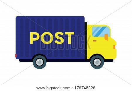 Delivery transport cargo post logistic vector illustration isolated on white background. Commercial highway industrial city truck. Fast shipment distribution export courier mail car.