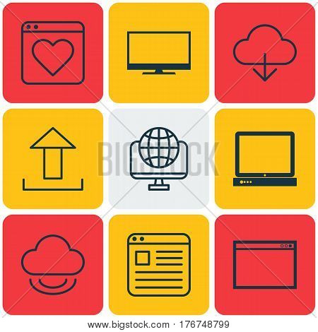 Set Of 9 Web Icons. Includes Computer Network, PC, Program And Other Symbols. Beautiful Design Elements.