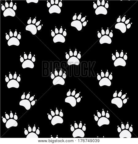 Cat or dog paw seamless pattern - vector animal footprint texture.