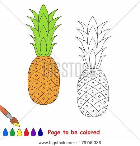 Ripe Pineapple to be colored. Coloring book to educate kids. Learn colors. Visual educational game. Easy kid gaming and primary education. Simple level of difficulty. Coloring pages.