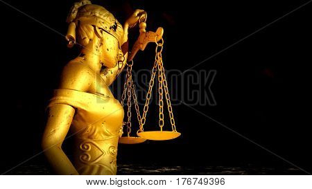 Themis with scale and sword. Justice and law symbol statue 3d rendering