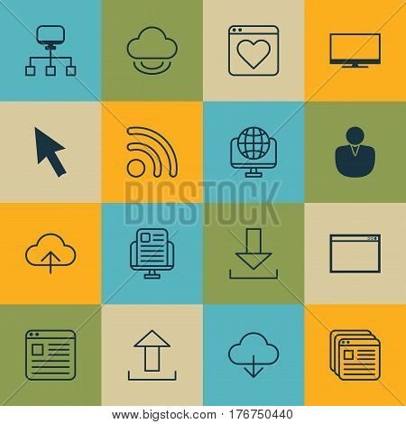 Set Of 16 Internet Icons. Includes Program, Wifi, Display And Other Symbols. Beautiful Design Elements.