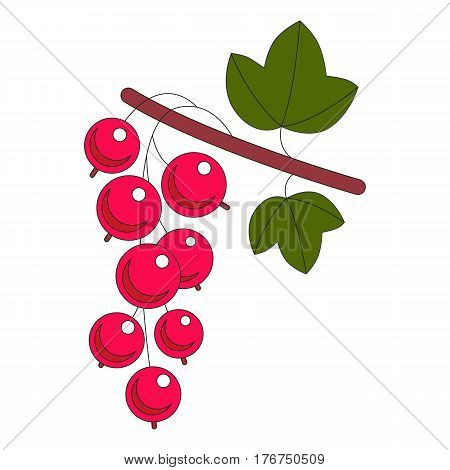 Red Currant Berry. Illustration of branch of ripe red currant berries with leaves isolated on white.