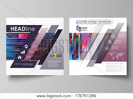 Business templates for square design brochure, magazine, flyer, booklet. Leaflet cover, abstract vector layout. Glitched background made of colorful pixel mosaic. Digital decay, signal error, television fail. Trendy glitch backdrop.