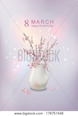 Happy women's day greeting card. Postcard on March 8. Spring Cherry blossoms branch in ceramic jug with fallen petals and flowers