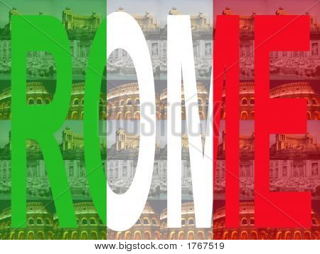 Rome Text With Attractions