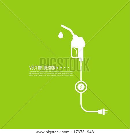Gasoline pump nozzle sign. Gas station icon. Electro refill symbol. Vector. Fuel pump petrol station. drop of gasoline with lightning.  refuel service.