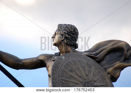Statue of Alexander the Great in downtown of Prilep , Macedonia