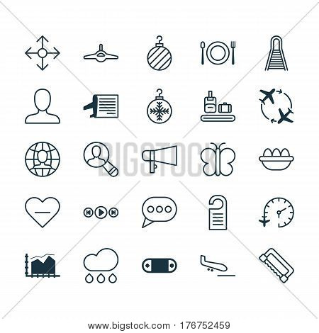 Set Of 25 Universal Editable Icons. Can Be Used For Web, Mobile And App Design. Includes Elements Such As Web Profile, Global Work, Christmas Ball And More.