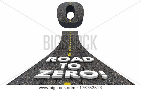 Road to Zero Reduction Eliminate Lower Risk 3d Illustration