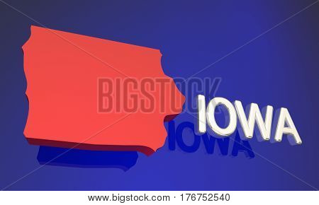 Iowa IA Red State Map Name 3d Illustration