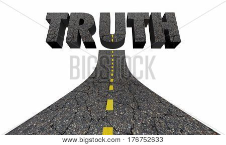 Road to Truth Word Find Real Answers Facts 3d Illustration