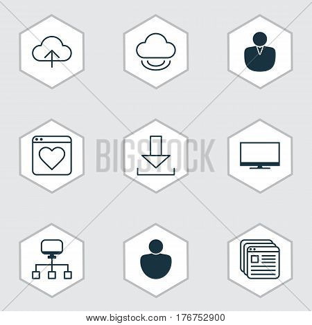 Set Of 9 Internet Icons. Includes Data Synchronize, Virtual Storage, Local Connection And Other Symbols. Beautiful Design Elements.