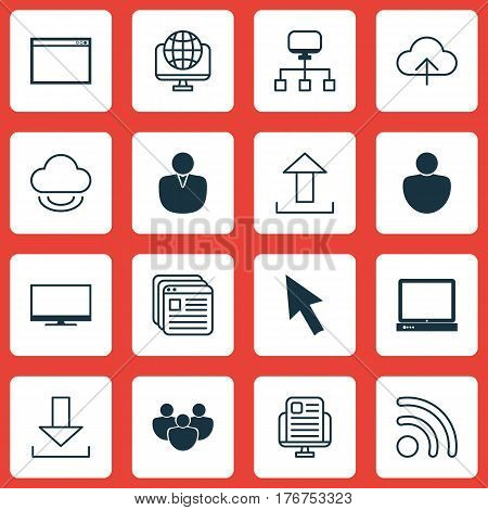 Set Of 16 World Wide Web Icons. Includes Virtual Storage, Team, Wifi And Other Symbols. Beautiful Design Elements.