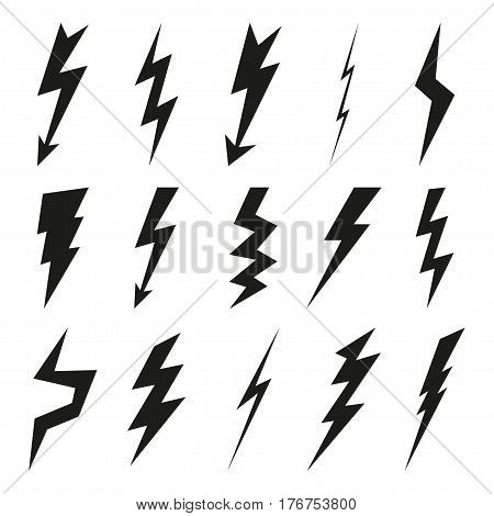Lightning icon set. Electricity thunder and danger symbol. Lightning strike Flash and arrow black icons isolated on white background. Storm lightning silhouettes. Vector illustration.